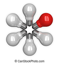 Red tungsten light bulb among white ones lying radially...