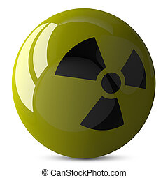Sphere with radiation sign isolated - Yellow shiny sphere...