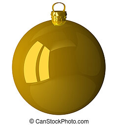 Golden Christmas ball isolated