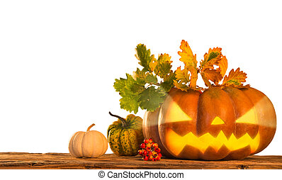 Scary jack o lantern halloween background, close-up.