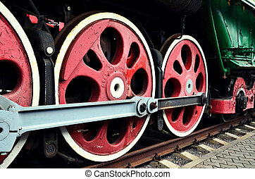 wheel detail of a vintage steam train locomotive
