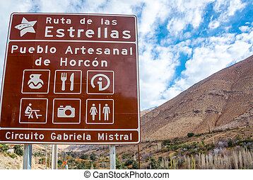 Street Sign in Chile - Street sign near Vicuna, Chile on the...