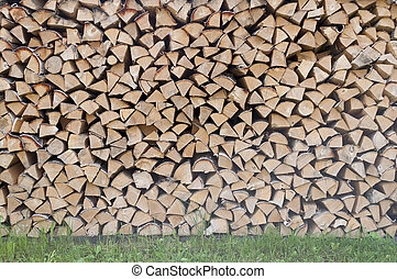 Stack of dry birch firewood - Stack of dry chopped birch...