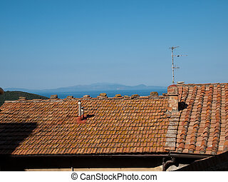 Elba Island - The view on the island Elba above roofs of...