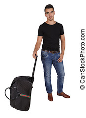 young man with a suitcase