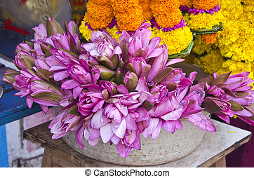 sacred lotus flowers in asia market near temple, India -...