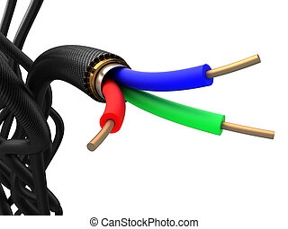 3d cable tangle - 3d illustration of electrical cable...