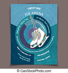 Ice skating rink advertising poster - Ice arena invites to...