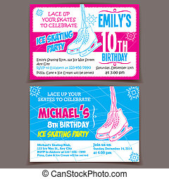 Ice skating birthday party invitation cards - Printable boy...