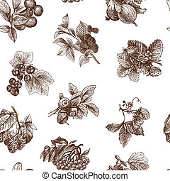 Sketch berries seamless pattern - Natural organic berries...