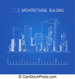 Architectural building blueprint - Modern residential urban...