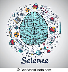 Brain sketch science concept - Human brain and physics and...