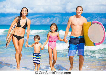 Happy Family with Surfboards on Tropical Beach, Summer...