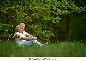 happy old people - Beautiful happy old people sitting in...