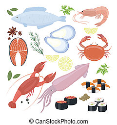 Selection of seafood shrimp and sushi icons - Selection of...