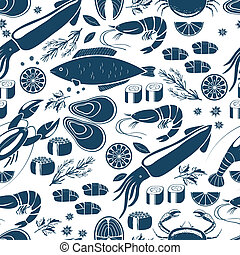 Fish sushi and seafood seamless background patter in blue...