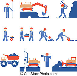 Earthwork and Road Construction Icons - Various Blue and Red...