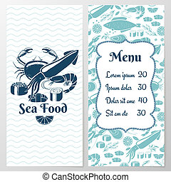 Two Paged Blue Fish Menu with Graphic