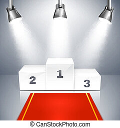 Empty winners podium with spotlights - Vector illustration...