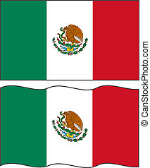Flat and waving Mexican Flag. Vector illustration