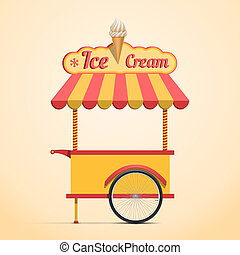 Ice cream cart - Retro vector ice cream cart on beige...
