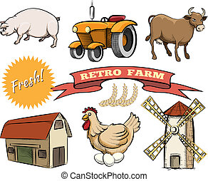 Set of Retro Farm vector icons
