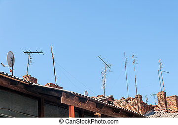 Antenna. The roof of the old house