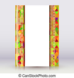 Bright flyer in tribal style on a light background. Vector illus