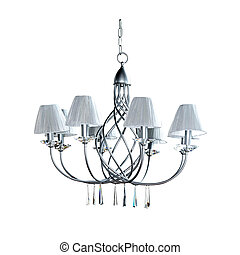 Silver chandelier - Big silver chandelier isolated included...