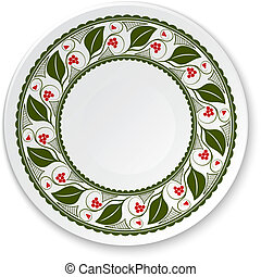 Round porcelain plate on a painting of a  viburnum on a white ba
