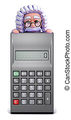3d Judge looks over a calculator - 3d render of a judge...