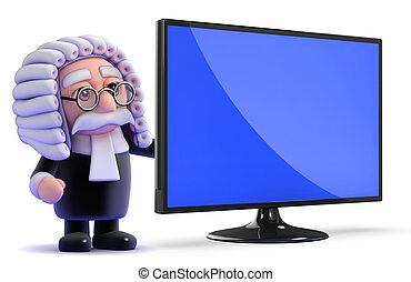 3d Judge with his new widescreen lcd television monitor - 3d...