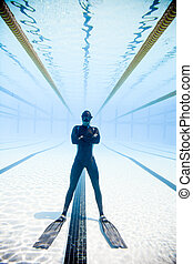 Freediving Competition Security in the middle of the Pool -...