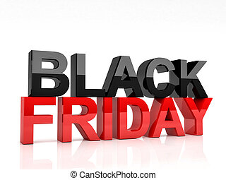 black friday - 3d image of black friday text on white...