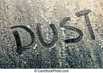 polvoriento, polvo, ventana, palabra