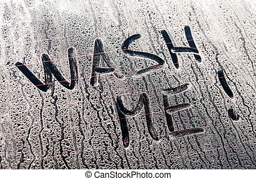 Wash Me Words on a Dirty Car Window - Wash Me Words on a...