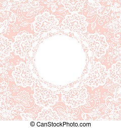 white lace on pink background