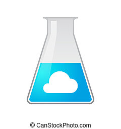 Chemical test tube with a cloud - Illustration of a chemical...