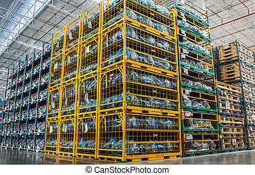 Warehouse of spare parts in car-care center - Warehouse of...