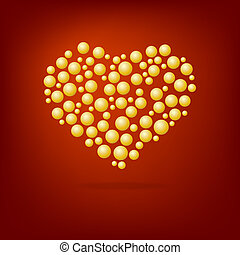 Heart of gold bubbles Valentine's Day.
