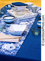 Blue tabletop with a seaside design theme