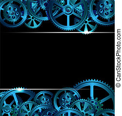 gears 01 - gears on a dark blue background, vector...