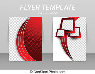 Flyer back and front design template in red color
