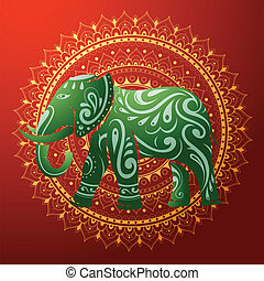 Indian elephant with ethnic ornamen - Vector illustration...