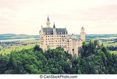 Neuschwanstein Castle in Bavaria, Germany with Retro Filter Effe