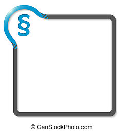 frame for text with blue corner and paragraph