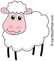 sheep, branca, sorrindo