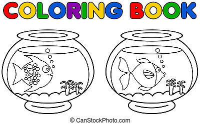 two aquarium with fish coloring