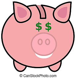 a piggy bank with dollar eyes