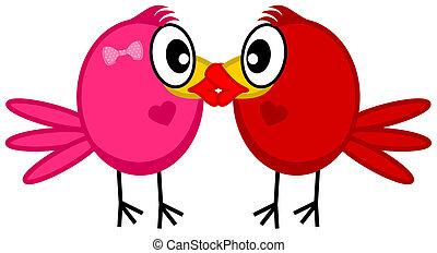 a couple kissing bird